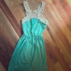 Adorable mint green crochet top fit and flare